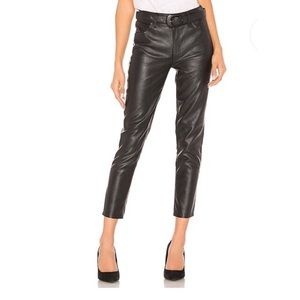FREE PEOPLE Belted Leather Ankle Pants 28 NWT